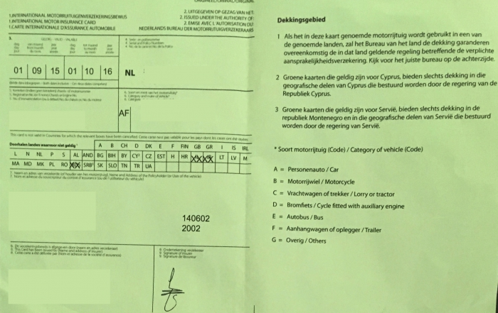 Groene kaart - verzekeringsbewijs voor voertuiigen