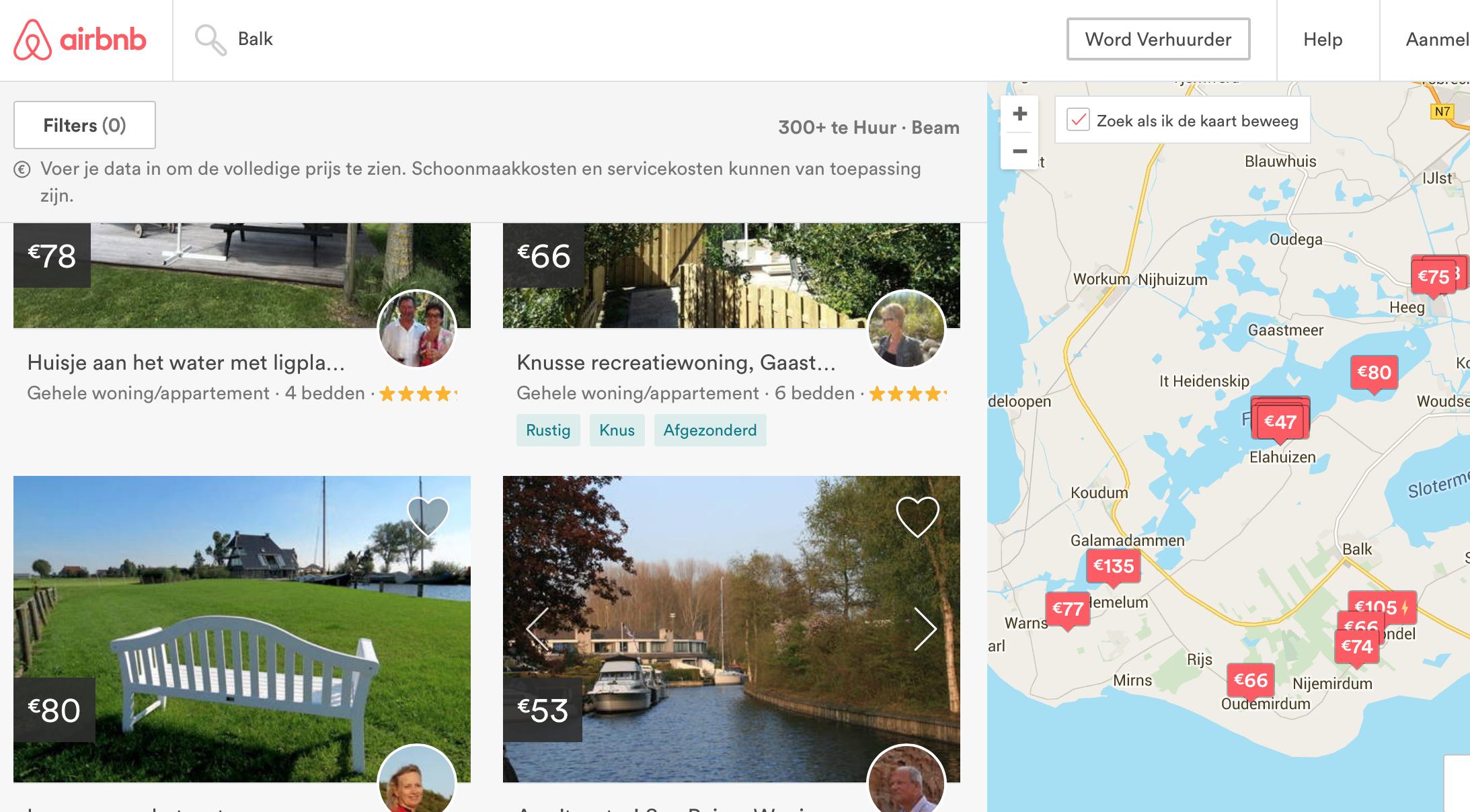 Aanbod Airbnb in Balk